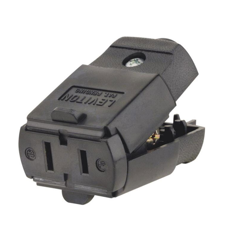 Leviton 15A 125V 2-Wire 2-Pole Hinged Cord Connector 501612