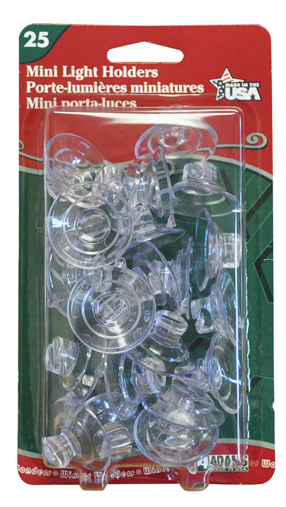 Mini Self-Closing Suction Cup String Light Holders - 25 Pack