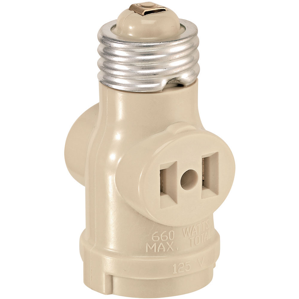 Leviton [1403I] Single Light Socket 2 Outlet Adapter - Ivory - Lamp ...