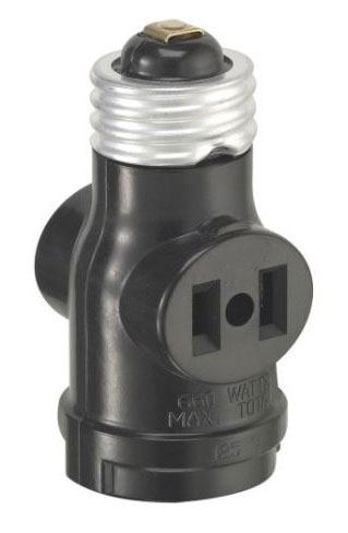 Leviton 1403 Single Light Socket 2 Outlet Adapter