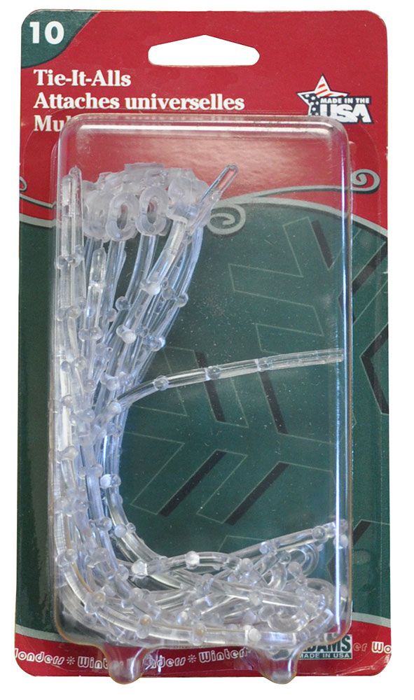 Ties-It-All String Light & Garland Clear Plastic Ties - 10 Pack