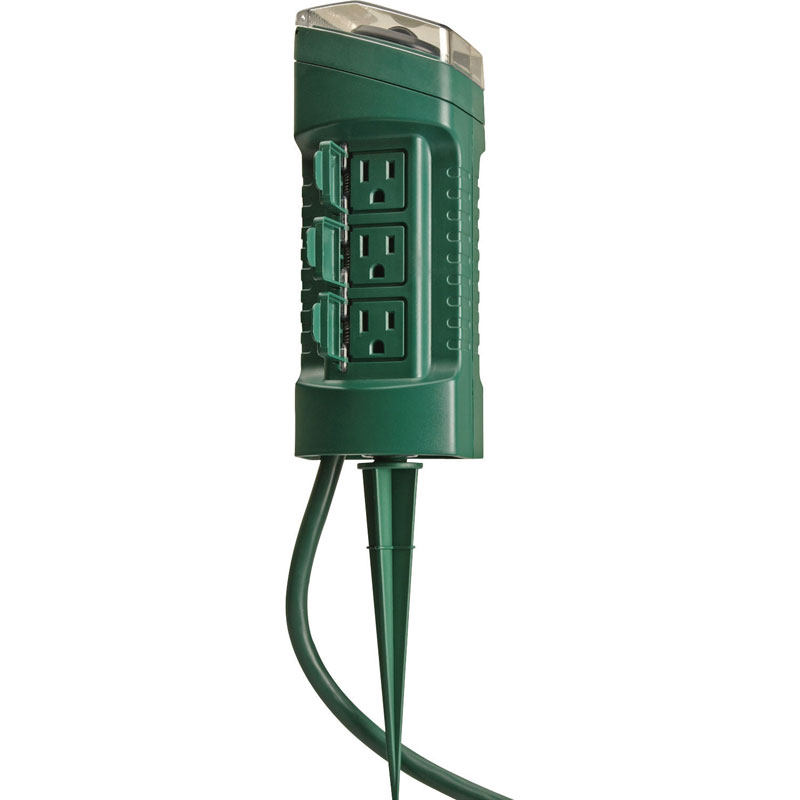 Woods 13547 6 Outlet Outdoor Power Stake W Mechanical Timer String Light