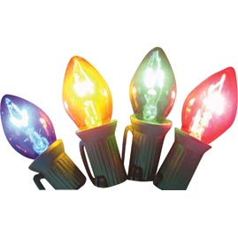 Transparent Multi-Color Twinkling C7 Stringlight Bulbs