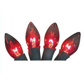 Replacement C9 Stringlight Bulbs - 4 Pack - Transparent Red