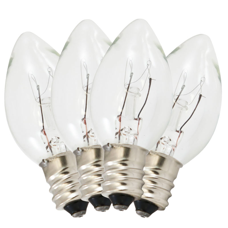 Replacement C7 Stringlight Bulbs - 4 Pack - Transparent Clear Twinkling