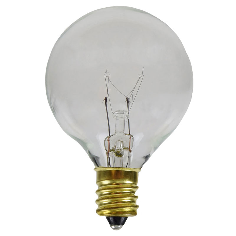 7 Watt Clear G50 Globe Light Bulbs - Candelabra Base