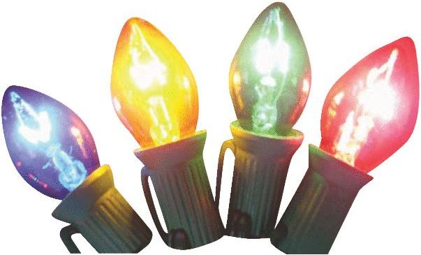 Transparent Multi-Color C7 Stringlight Bulbs - 4 Pack