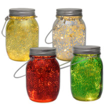 Battery Operated Colored Mercury Glass Mason Jar Lights