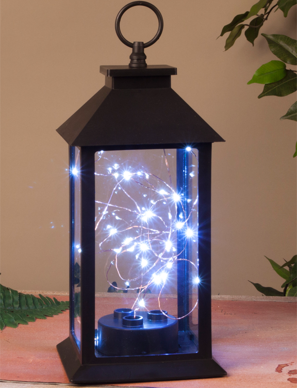 Black Plastic Lantern w/ Micro Lights - 11