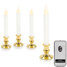 Battery Operated LED Candlesticks w/ Remote - Gold Base - 4 Pack