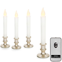 Battery Operated LED Candlesticks w/ Remote - Pewter Base - 4 Pack