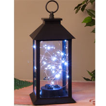 Black Plastic Lantern w/ Micro Lights - 11""