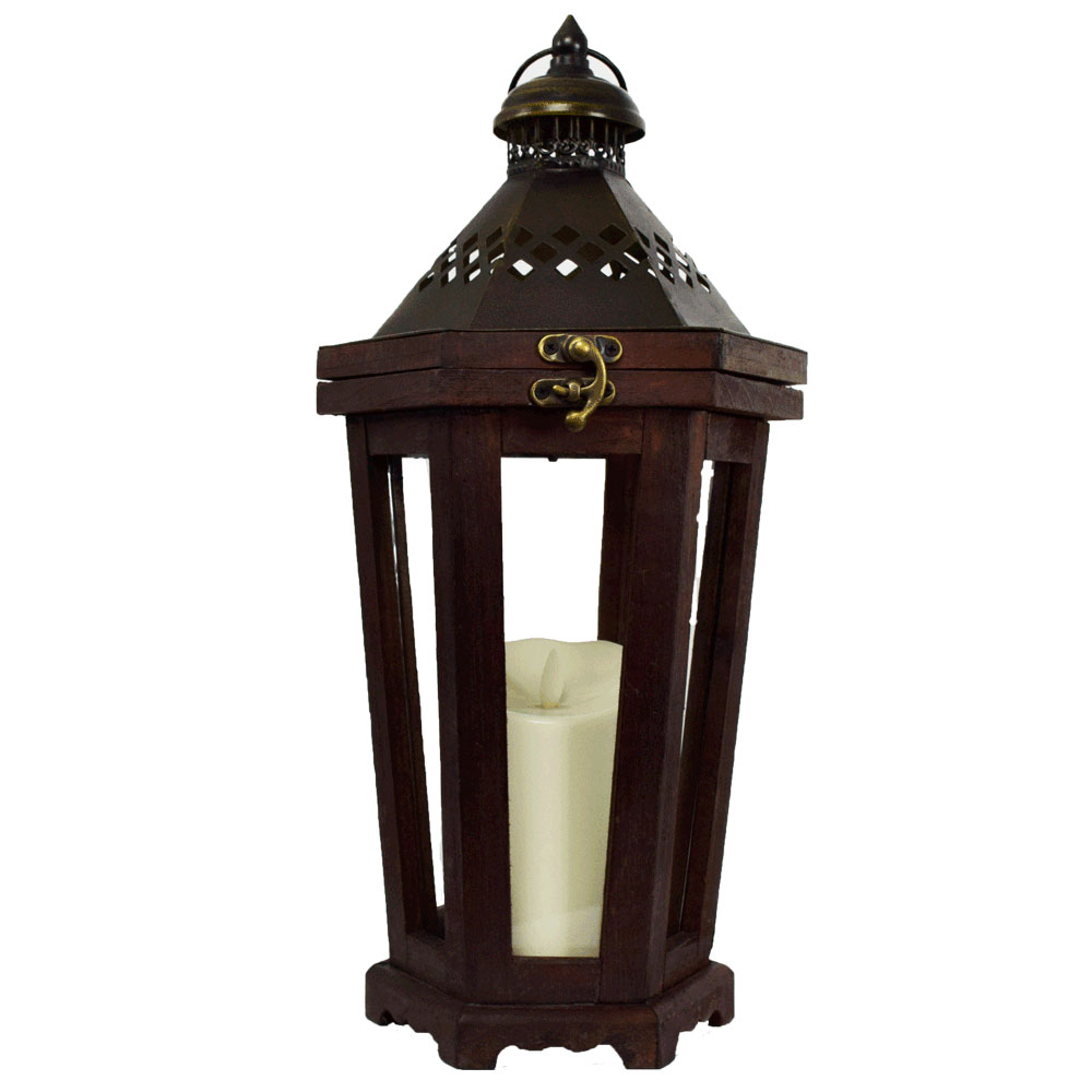 brown luminary lantern with flameless flickering candle