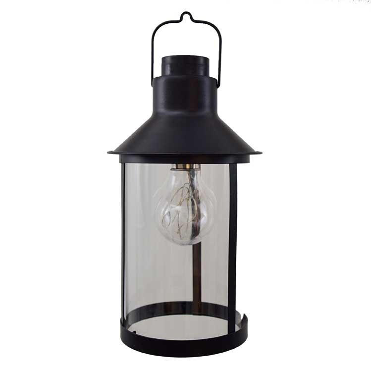 Cordless Edison Bulb Lamp: Black Metal Lantern