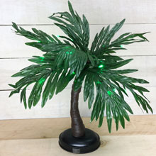 "15"" Battery Operated Green LED Lighted Palm Tree"