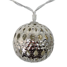 Battery Operated LED Silver Metal Sphere Lights