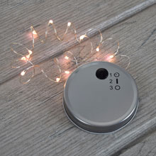 Battery Operated Mason Jar Lid w/ Warm White LED Light String