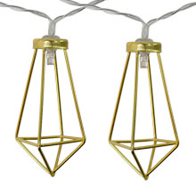 Battery Operated Gold Wire Diamond LED String Lights