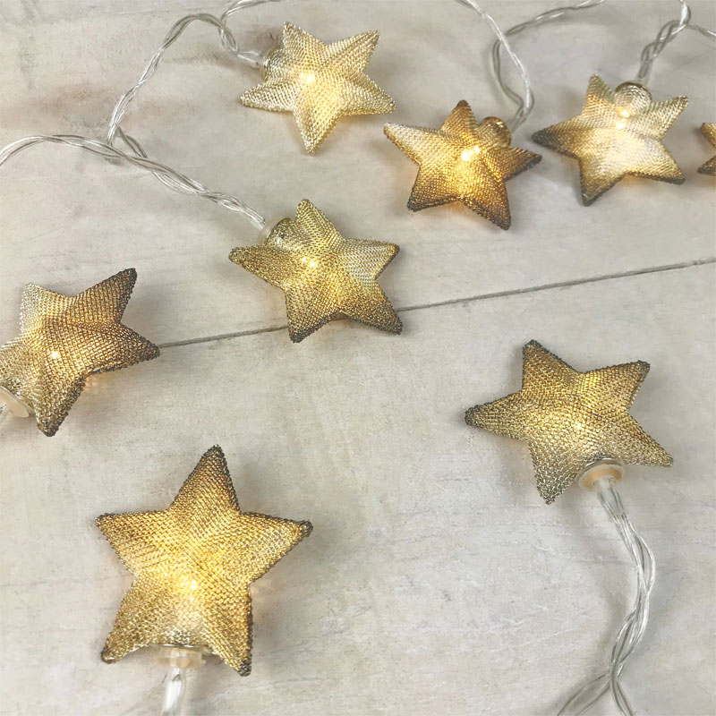 Gold Mesh Star LED Battery Operated String Lights