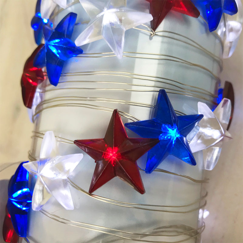 Acrylic Patriotic Star Micro LED String Lights - 10 ft. GC2401820