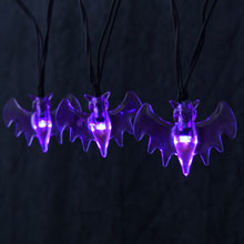 Purple Bat LED Battery Operated Halloween Novelty String Lights