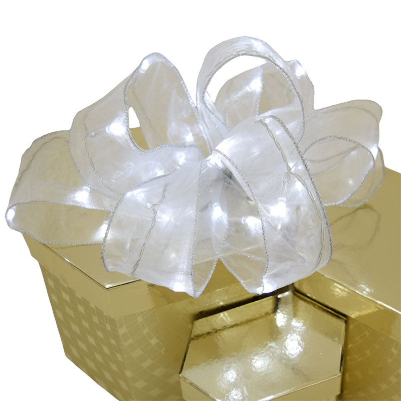 White Organza Ribbon Light - 30 LED - Battery Operated - 8.5 Ft.