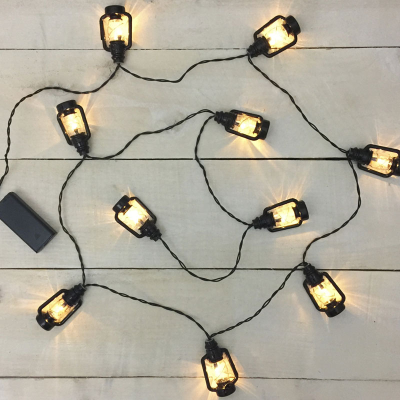 How To Make String Lights Battery Powered : Black Lantern LED String Lights - Battery Operated
