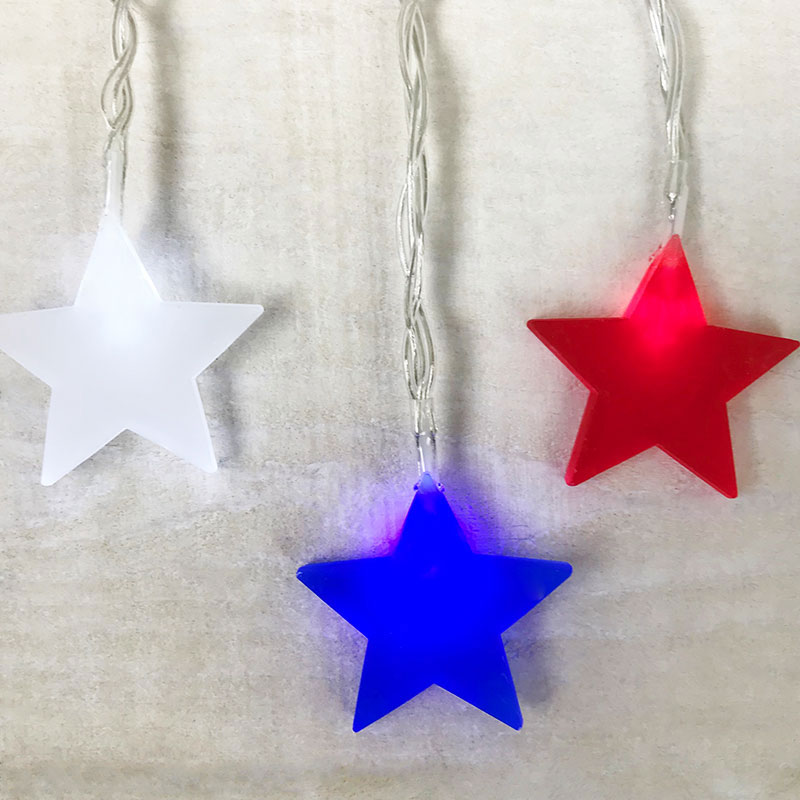 Frosted Patriotic Star String Lights - 10 Warm White LEDs GC2401850