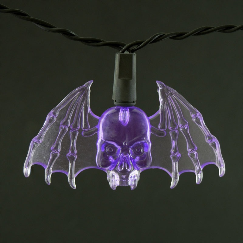 Halloween Purple Led String Lights : Purple Bat LED String Lights - Battery Operated