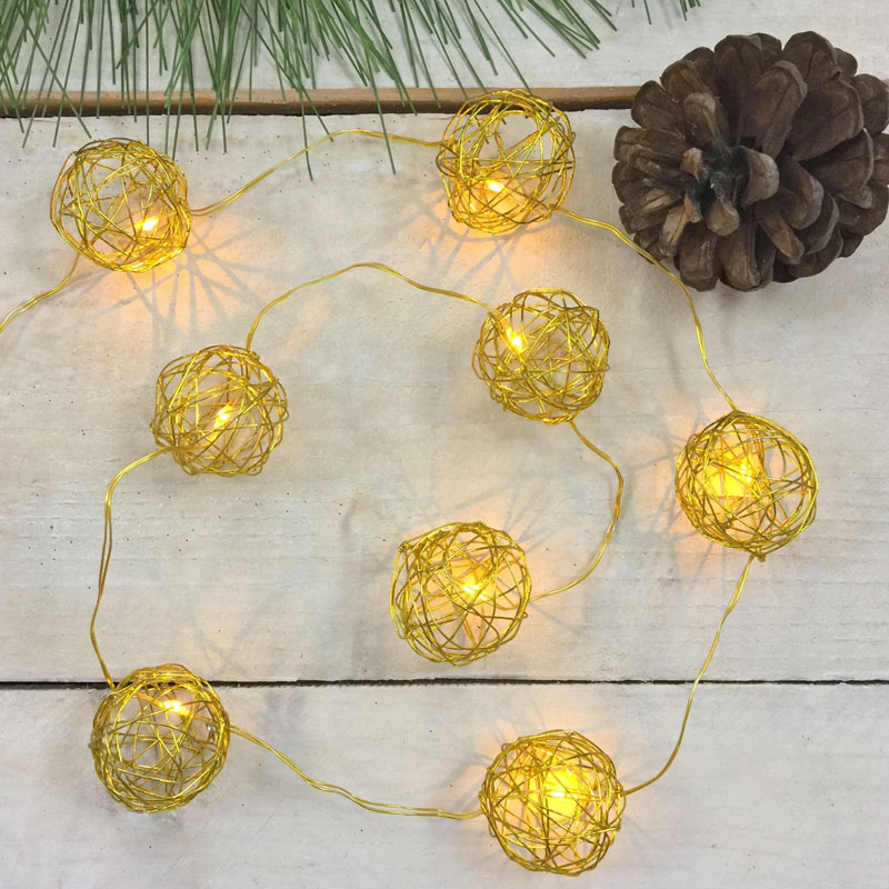 Warm White LED Gold Wire Sphere String Lights - Battery Operated