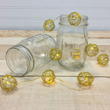 Gold Wire LED Sphere String Lights - Warm White - Battery Operated