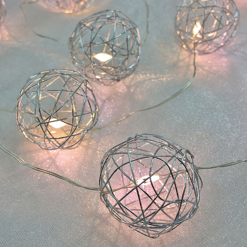Warm White LED Silver Wire Sphere String Lights - Battery Operated
