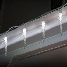 Danson Battery Operated Pure White LED Icicle Lights
