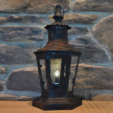 "14"" Battery Operated Metal & Glass Antique Lantern"