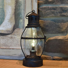 "10"" Battery Operated Metal & Glass Antique Lantern"