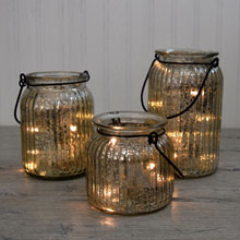 Battery Operated Lighted Mercury Glass Luminaries