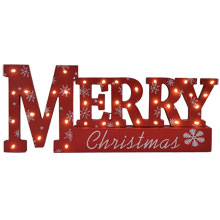 "17"" Battery Operated Lighted Wood ""Merry Christmas"" Table Sign"