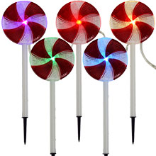 Lollipop Candy Path Christmas Lights - 5 Stake Lights 900029