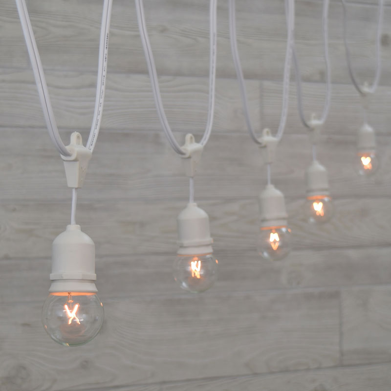 Globe String Lights Kit : Globe Outdoor String Lights - 21 Foot White Suspended Strand