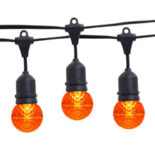 21' Amber LED Globe Light Strand Kit - Black Wire