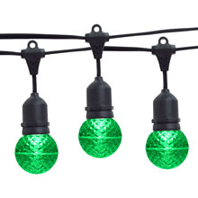 21' Green LED Globe Light Strand Kit - Black Suspended Wire