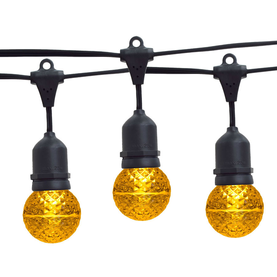 21' Yellow LED Globe Light Strand Kit - Black Suspended Wire