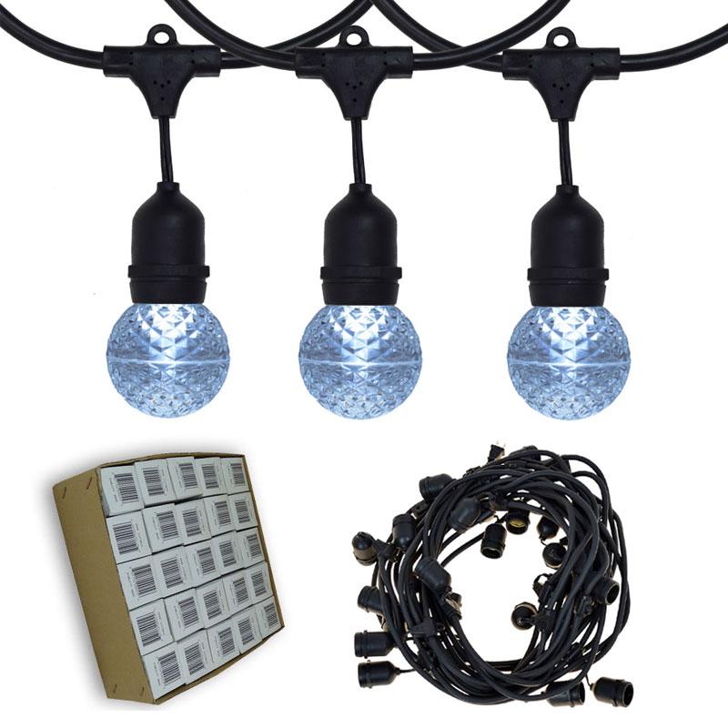 48 ft. Cool White G50 LED Globe Light Strand - Suspended Black Wire