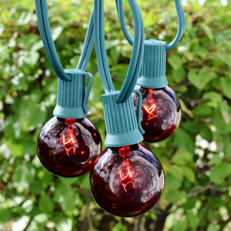 100' Red G50 Globe String Lights - Green C9 Strand