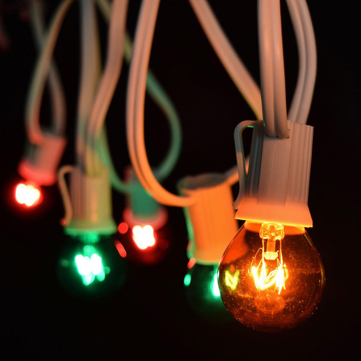 Red/Green/Amber Globe String Lights - 25 White C9 Light Strand