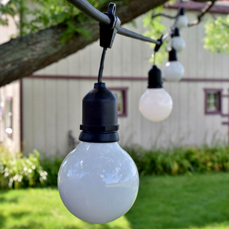 Globe String Lights Kit : 48 Commercial White Globe String Light Kit - Black Suspended