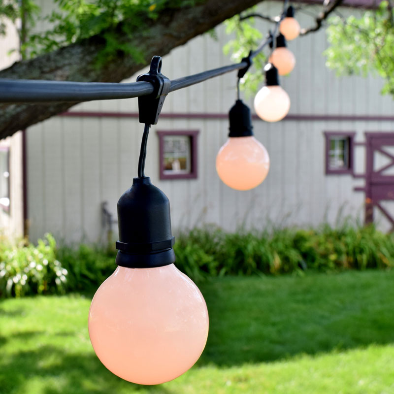 White Globe Patio String Light Kit - 48' Black Suspended