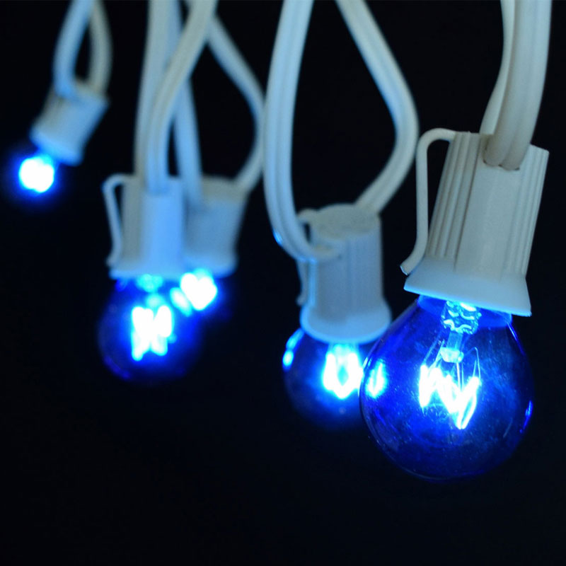 50' C9 White Light Strand Kit, Blue G50 Globe - Intermediate Base