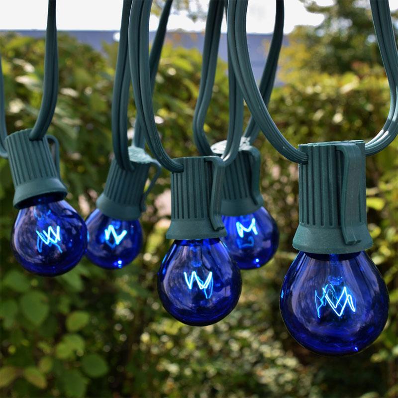 50 Commercial Blue Globe Light Strand - Intermediate Base