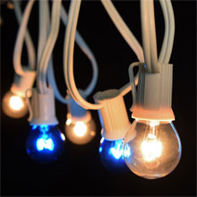 25' Commercial Blue/Clear Globe Light Strand - White C9 Strand